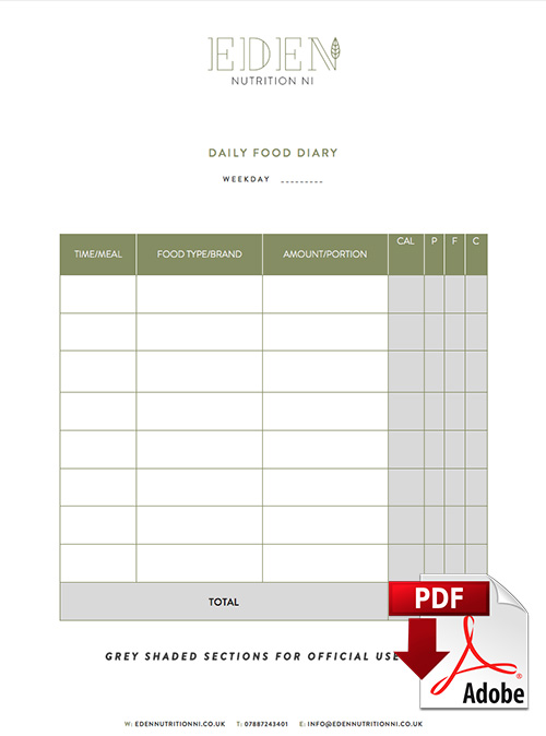 4 Day Food Diary